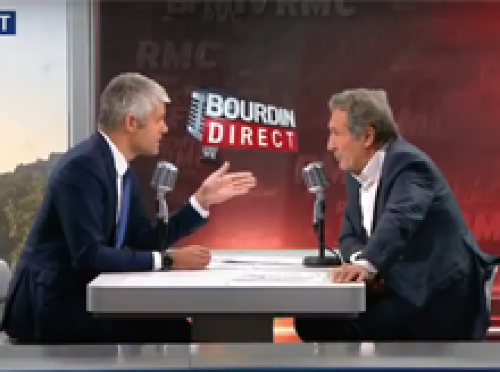 Laurent Wauquiez face à Jean-Jacques Bourdin mercredi 20 septembre
